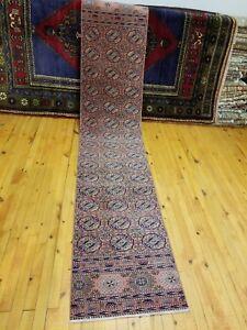 """Exquisite Antique 1930-1940's Wool Pile 1'10""""×9'1"""" Rose Dye Bunyan Runner Rug"""