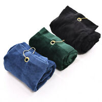 HK- 40x60cm Water Absorption Tri-Fold Cotton Golf Ball Clean Towel with Clip Uni
