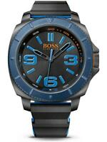 ✅ HUGO BOSS MEN'S ORANGE SAO PAULO BLACK ION PLATED RUBBER BAND WATCH 1513108