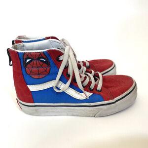 Vans X Marvel SK8 High Top Spiderman Zip Up Canvas Kids Sneaker Shoes Size 13
