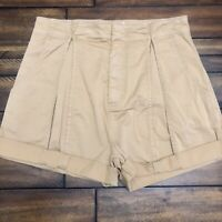 New $178 Joie Xandria Women's High Rise Pleated Cuffed Shorts Size 10 Tan NWT