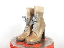 Brunello Cucinelli NWOB leather brown cashmere laces & zip boots 35 EU | 5 US