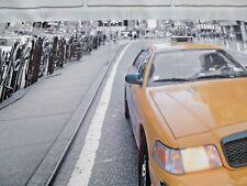 New York Taxi Landscape Canvas Black White Grey Orange City People 135 x 45 cm