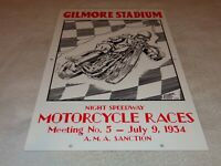 "VINTAGE GILMORE STADIUM MOTORCYCLE RACE 18"" PORCELAIN METAL GASOLINE & OIL SIGN!"