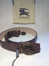 NEW Burberry light brown crocodile skin military buckle belt exotic leather, 90