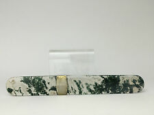 Chinese Moss Agate Page Turner Letter Opener Paper Knife with Sterling Band