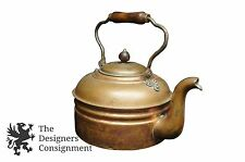 Antique Copper Tea Kettle Chester Wooden Handle Patina Water Boil Primitive Pot