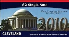 """$2 2010  NOTE  BEP SERIES  2003A  CLEVELAND  """"D""""  S/N  D20100726D  LOW S/N"""