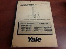 Yale Service & Operators Manual for Models A868, A869, A870; P/N: 272350000