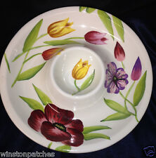 """TABLETOPS UNLIMITED SPRING FLORAL 1 PIECE CHIP & DIP BOWL 13 1/4"""" FLOWERS"""