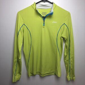 Asics 1/2 Zip Active Jacket Women's Size Small S Neon Yellow Gym Yoga