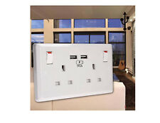 13a 2 Gang Double Paroi Prise avec 2 Chargeur USB Ports Points de Vente Blanc