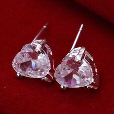 925 Silver Plt Simple Clear Crystal Love Heart Stud Earrings Ladies Gift a