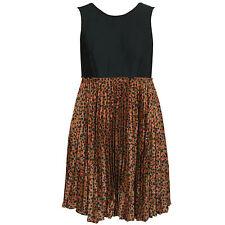 CACHAREL $1745 multi-color cheetah print pleated cotton silk dress 42-I/8-US NEW
