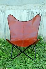 Retro Rustic Leather Butterfly Relax Arm Chair BKF HOME DECOR Furniture