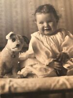 Antique Victorian Photo Child Polly Adorable Steiff Dog With Bell