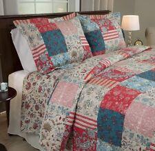 Americana Quilt Set Full / Queen Size Patchwork Design Red Blue Soft Microfiber