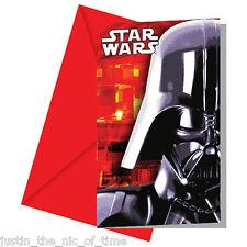 STAR WARS Boys Birthday Party Invites Envelopes Darth Vader INVITATIONS x6