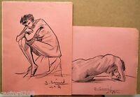 2 Dibujos Mujer Desnuda Carboncillo Lápiz Firmado S.Deniel Medio Xx