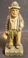 "Vintage Resin Hobo w/ Bag Figurine 6"" x 2.25"" x 2.25"" Good Condition"