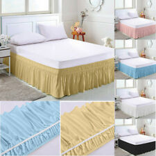 Elastic Bed Skirt Cover Hollow Ruffle Stretch Valance Fit Wrap Around Queen King