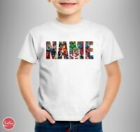 "Marvel Personalised Logo Kids T-shirt ""YOUR NAME"" Birthday Comic Gift All Size"