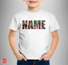 """Marvel Personalised Logo Kids T-shirt """"YOUR NAME"""" Birthday Parties Gift Comic"""