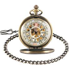 Stars Case Vintage Bronze Mechanical Hand Wind Pocket Watch Luxury Special Dial