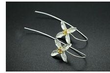 Orchid Earrings silver long ear wire blossom flower floral drop bridal wedding