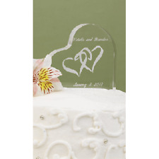 NEW Linked White Heart Shaped Clear Acrylic Wedding Cake Top Personalized