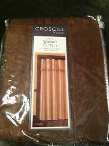 New Croscill 100% Polyester Shower Curtain with Hooks