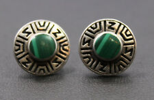 Overlay Design Stud Earrings Sterling Silver Round Malachite