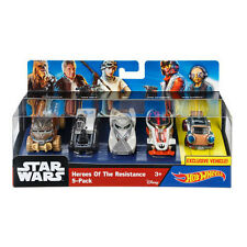 Hot Wheels 1:64 Scale Star Wars HEROES OF THE RESISTANCE Character Car 5-Pack