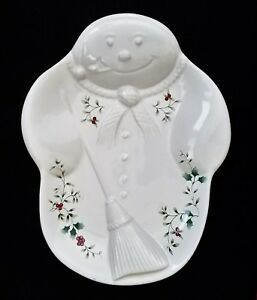 """Pfaltzgraff WINTERBERRY RELIEF SNOWMAN TRAY serving cookie PERFECT CONDITION 11"""""""