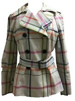 Coach 82791 Women's Tattersall Plaid Trench Coat Classic Double Breasted Jacket