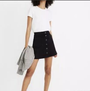 NWT Madewell Size 00 Black Denim Mini Jean Skirt | A Line Button Front Stretch