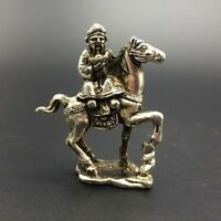 CHINA'S TIBET SILVER PURE HAND-CARVED EQUESTRIAN STATUE ;88