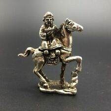 China old copper plating silver pure hand-carved equestrian statue  a01