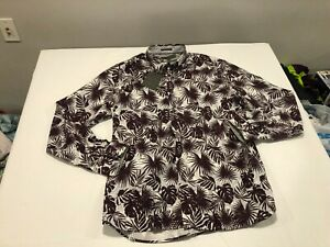 NWT $199.00 Ted Baker Mens Phormal LS Tropical Leaf Print Shirt Purple Size 16.5