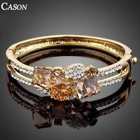 Fashion Big Austrian  Crystal Bangle 18K Yellow Gold Plated Bracelet Jewelry