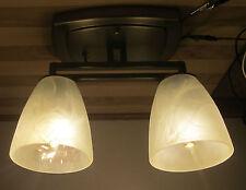 2 Arm Nickel 12 VOLT LED RV Trailer White Alabaster Ceiling Dinette Light Lamp