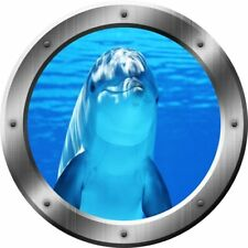 VWAQ Porpoise Wall Decal Dolphin Porthole 3D Wall Sticker Peel And Stick Decor
