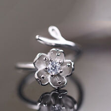 1PC Fashion Cherry Blossoms Flower Opening Zircon Ring for Women Party Jewelry