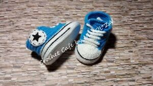 HANDMADE CROCHET BABY UNISEX  BOOTIES ATHLETIC SHOES SNEAKERS CONVERS All STAR