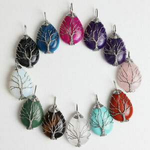 Natural Gemstones Crystal Teardrop Tree of Life Reiki Chakra Pendant Jewelry UK