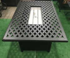 Fire pit coffee table cast aluminum outdoor patio furniture.