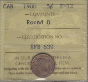 1900 Round 0 Key Canada Silver Five Cents Coin. ICCS F-12