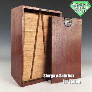 D1396 Japanese Edo Samurai TSUBA Storage&Safe WOODEN BOX katana koshirae kozuka