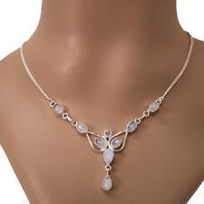 Mondstein Halskette Silber 925 Collier 40cm Kette 9 Cabochon Edelsteine fey