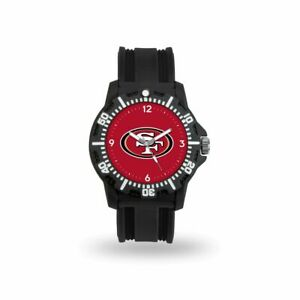 San Francisco 49ers Black Rubber Strap Water Resistant Mens Watch